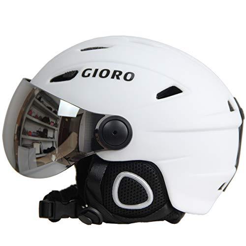 Skihelm Schutzbrille Visier Männer Frauen Snowboard Helm Moto Schneemobil SkateboardHelm Maske Winter Warm Fleece Capacete-Matte White-S