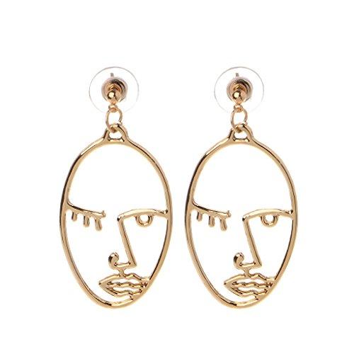 Ydhsja - 1 par de pendientes de declaración de cuerpo de cara de luna geométrica dorada y plateada para mujeres