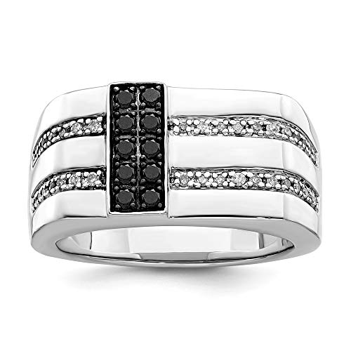 925 Sterling Silver Black White Diamond Mens Band Ring Size 11.00 Night Man Fine Jewellery For Dad Mens Gifts For Him
