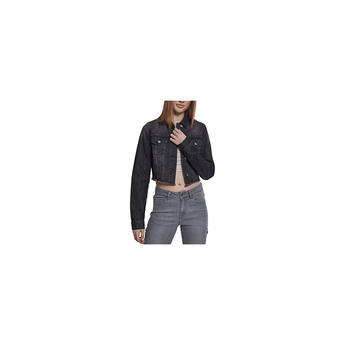 Urban Classics Damen Ladies Short Denim Jacket Jeansjacke Schwarz X-Small