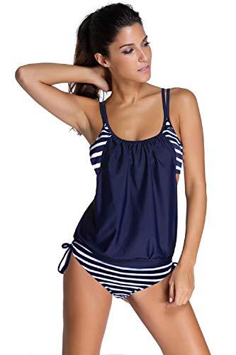 UMIPUBO Mujer Rayas Tankini Bikini 2 Piezas Sexy Conjunto de Bikini Trajes de Baño Tanga Playa Bikini Set Push-up Acolchado Ropa de Baño Beachwear
