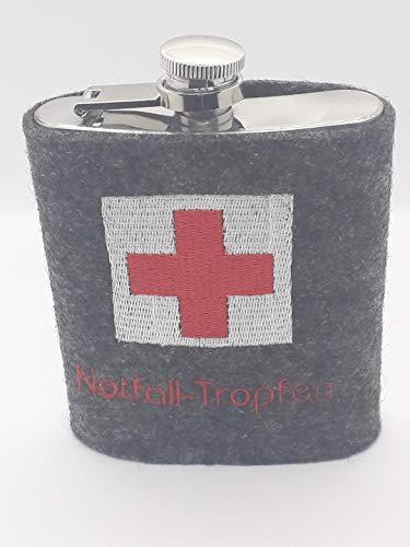 Flachmann, Flachmannhülle, Hülle, Filz, bestickt, rote Kreuz,Erste Hilfe, Notfalltropfen