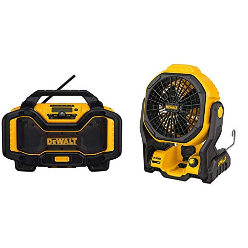 DEWALT 20V MAX Portable Radio & Battery Charger, Bluetooth (DCR025) & 20V MAX Cordless Fan for Jobsite, 11-Inch, Tool Only (DCE511B)