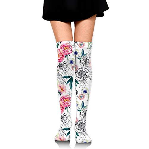 Tinta Doodle Flor Casual Calcetines Hombres Y Mujeres Caliente Grueso Muslo Alto Deportivo Calcetines