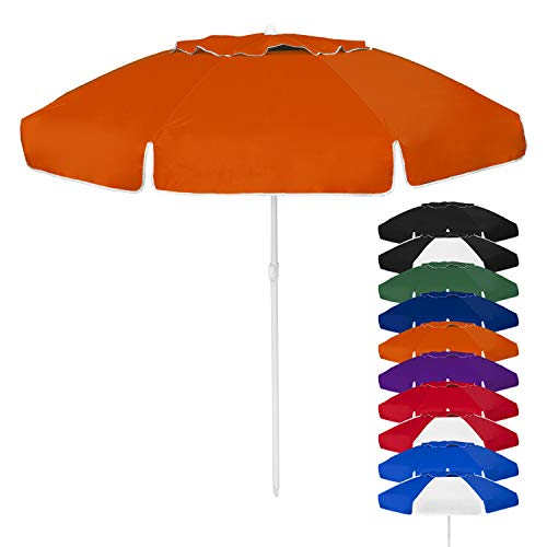 STROMBERGBRAND UMBRELLAS Large Size for Backyard and Beach Use, UV Blocking, Wind Resistant, Commercial Quality, Easy-Open Umbrella, Orange, One