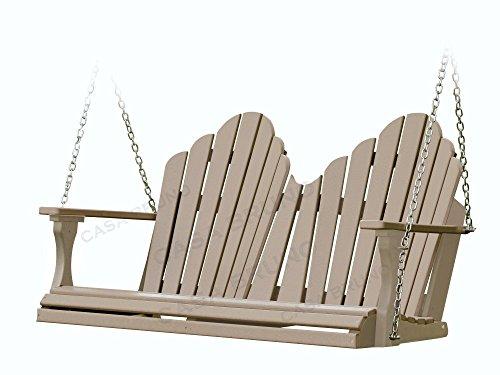 Polywood CASA Bruno Original Montana Hängeschaukel/Gartenschaukel 130 cm breit, aus recyceltem HDPE Kunststoff, Patina-braun - kompromisslos wetterfest