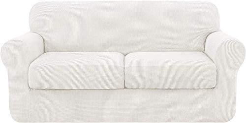 zyl Funda de sofá Universal con 2 Fundas de cojín separadas Protector de Muebles Antideslizante de reemplazo de Funda de sofá de poliéster elastizado elástico (Color Crema 2 plazas (145-178 cm))