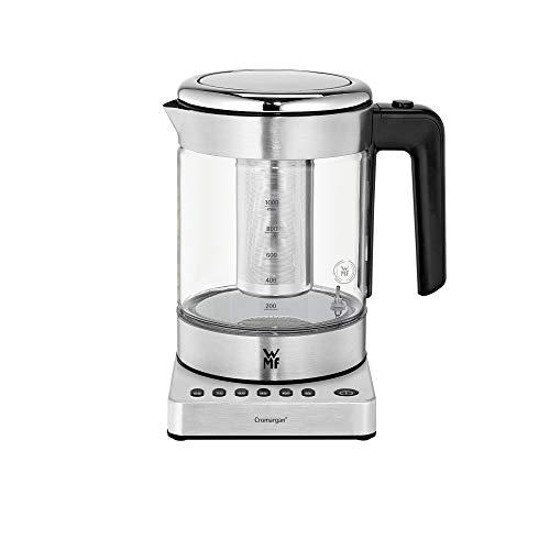 WMF Küchenminis 2 in 1 Vario Wasserkocher, mit Temperatureinstellung, 1,0 l, 1900 W, Teekocher Glas mit Teebeutelhalter und Sieb
