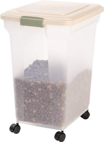 Best Review Of  IRIS Premium Airtight Pet Food Storage Container, 55-Pounds,  Almond