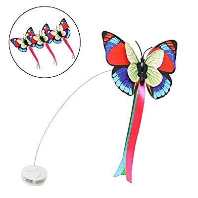 Electric Rotating Butterfly Cat Toys with Two Replacement Flashing Butterflies Interactive Cat Toy Spinning Cat Teaser Toy