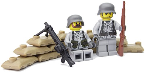 Deutsche MG Stellung mit MG42 | Zwei deutsche Soldaten mit BrickArms Helm und Ausrüstung | Bedruckte Custom Figuren