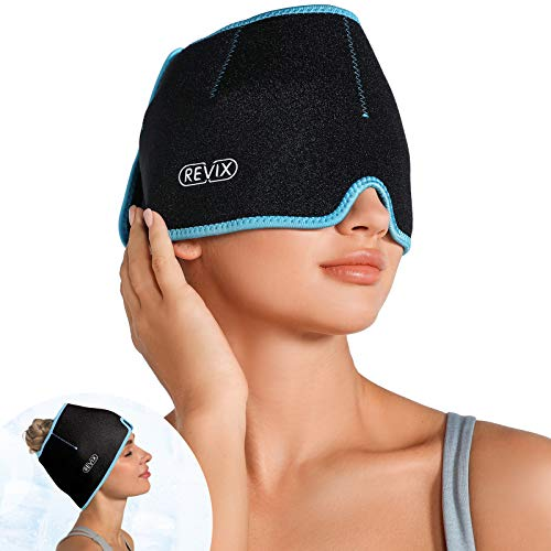 REVIX Headache Hat for Migraine Relief Ice Pack Head Wrap for Cold Therapy, Reusable Gel Head Ice Pack for Cold Compress…