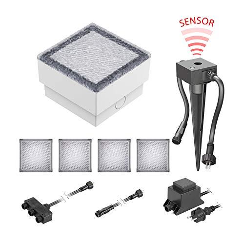 ledscom.de LED Pflaster-Stein Gorgon Boden-Einbauleuchte mit Dämmerungssensor für außen, 10x10cm, 12V, warm-weiß 5er Set