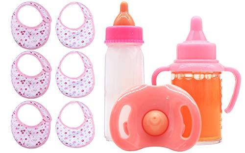 ZWOOS Magische Flaschen für Puppen und Puppenlätzchen, Simulierte Milch- und Saftflaschen mit Schnuller, Zubehör für Puppen