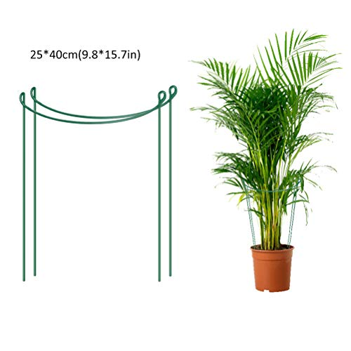 Katyma 2 Pcs Plant Support Plant Standing Flowers Shrub Holder Half Round Metal Plants Support Ring Hoop Plant Support Cages for Potted Plants Tomato Vine, Large