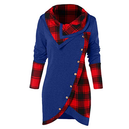 FORUU Women's Cowl Neck Plaid Drawstring Button Hoodie Sweatshirt Tunic Dress