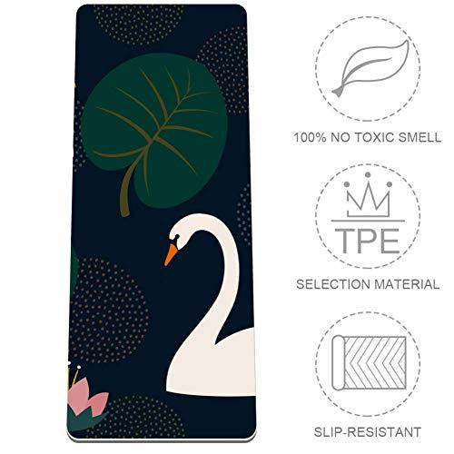HANDIYA Donkergroene ventilator laat zwaan yogamat opvouwbaar 8 mm dikke anti-slip reizen yogamat en zachte lichtgewicht oefening Mat voor yoga pilates en fitness