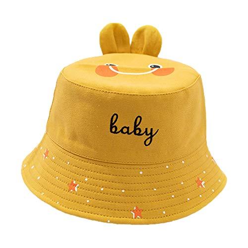 DZW 2021 New Baby Sun Hat, Cute Skin-Friendly UPF 50+ Rabbit Ear Beach Hat Morbido Traspirante Regolabile Baby Tesa Larga Cappelli Secchiello (Yellow)