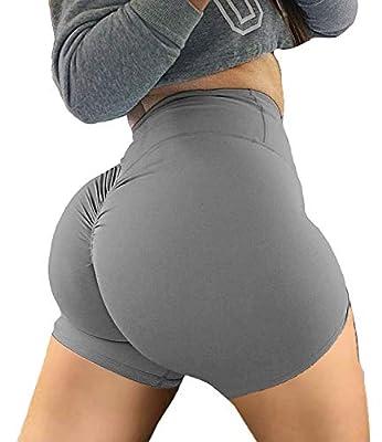 KIWI RATA Women's High Waisted Yoga Shorts Sports Gym Ruched Butt Lifting Workout Running Hot Leggings