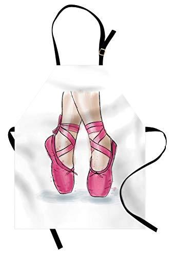 ABAKUHAUS Ballet Keukenschort, Hand Getrokken Schoenen van de ballerina, Unisex Keukenschort met Verstelbare Nekband voor Koken en Tuinieren, Wit Roze Pale Peach