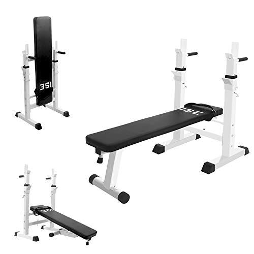ISE Banc de Musculation Pliable Réglable avec Support de Barres pour Haltère et Station à Dips SY-544 Blanc