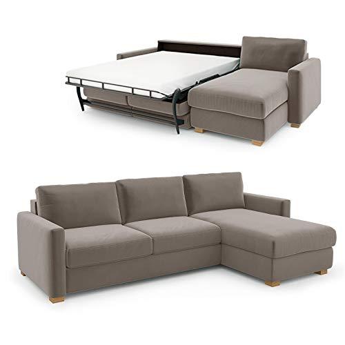 place to be. Sofá cama de 140 cm de ancho con cajón de cama de 3 plazas, sofá con función de dormir plegable, cama de invitados con canapé a la derecha, color beige