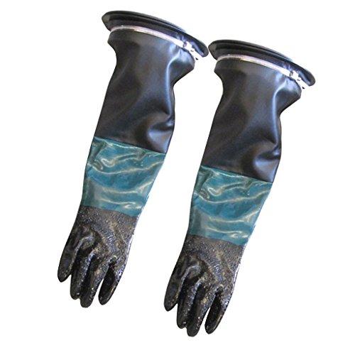 600mm Lang Sandstrahlhandschuhe Handschuhe für Sandstrahlkabine Sandstrahlenschutz Teichpflege, inkl, Handschuhhalter + Klemme + Handschuhe