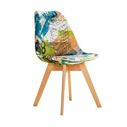 ZJ Silla de escritorio estable, creatividad, silla de ordenador para el hogar, moderna y sencilla, con respaldo de arte, silla de comedor única (color: A)