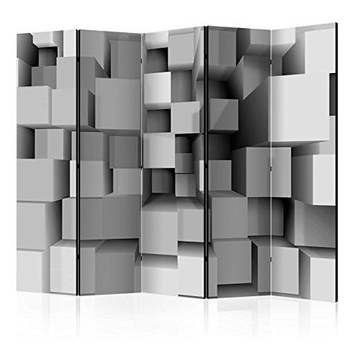 murando Raumteiler 3D Optik Foto Paravent 225x172 cm beidseitig auf Vlies-Leinwand Bedruckt Trennwand Spanische Wand Sichtschutz Raumtrenner grau f-A-0157-z-c