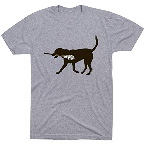ChalkTalkSPORTS Max The LAX Dog T-Shirt | Guys Lacrosse Tees Gray | Youth X-Large