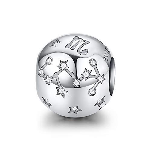FOREVER QUEEN Skorpion Sternzeichen Charm Bead 925 Sterling Silber Anhänger Passend für Pandora Armbänder 12 Sternbilder Charm Kompatibel mit Pandora Armband, Damenschmuck Geschenk mit Box