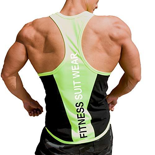 Herren Y-Back Stringer Muskel Brief Weste Top Workout Fitness Gym Ausbildung Tank T-Shirts (XXXL, Schwarz-Gelb)