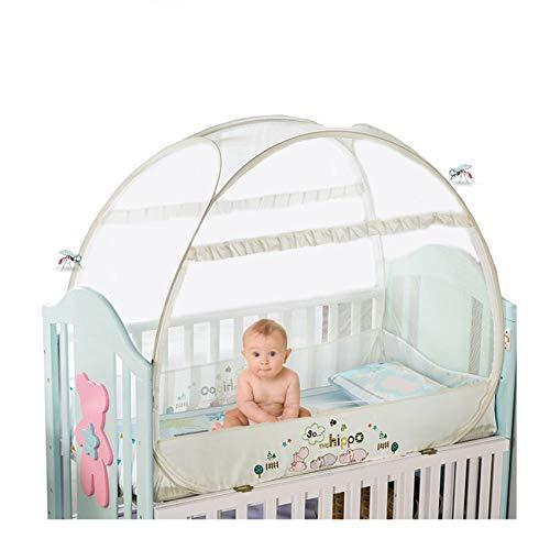 Douer Moskitonetz Baby, Unisex Babybett Moskitonetz, Baby Moskito Insektennetz - Katzennetz mit Reißverschluss für schnellen, einfachen Zugang zu Ihrem Baby,Beige,104×58×90cm
