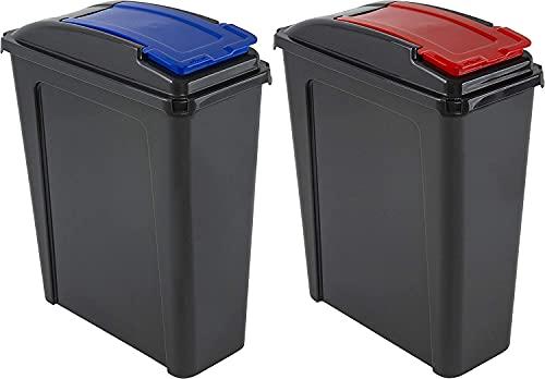 2 x Wham 25L Slimline Home Trash Waste Plastic Recycling Bin