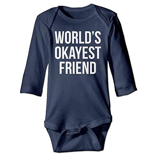 MSGDF Unisex Infant Bodysuits World's Okayest Friend Girls Babysuit Long Sleeve Jumpsuit Sunsuit Outfit Navy