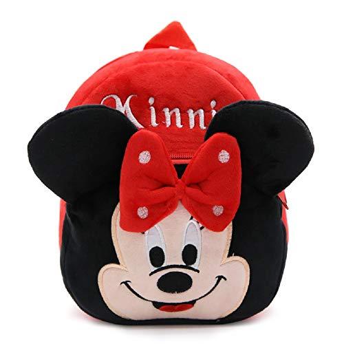 CHDJ Cartoon Süßer kleiner Kleinkind Mini Plüsch Rucksack für Baby Mädchen Jungen Alter 1–3 Jahre Rot Minnie Maus 3 Jahre