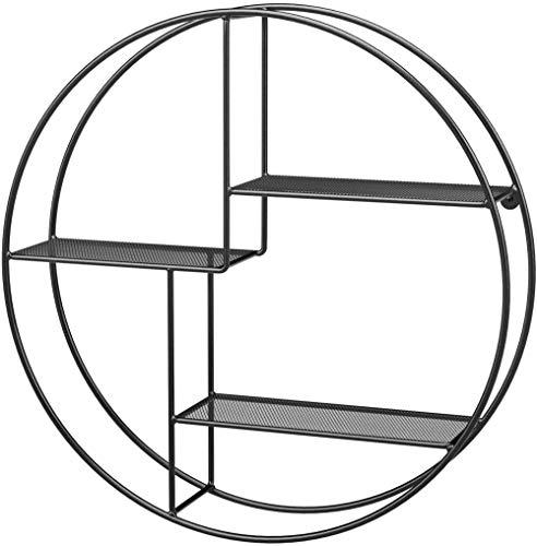 Estante Redondo de Pared, Estante Flotante de 3 Niveles, 55 x 12 cm (Ø x P), para Sala de Estar, Escritorio, Cocina, Decoraciones, Libros, Estilo Industrial, Metal-Negro