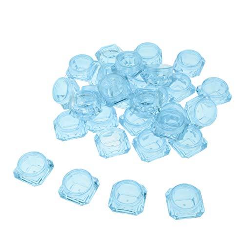 MagiDeal 30 Stück 3g Kunststoff Leerdose Tiegel mit Deckel, Leere Creme-Dose, Kosmetik Dosen für Aufbewahrung von Lidschatten, Lotion, Lippenbalsam usw. - Blau