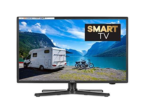 Reflexion 22 Zoll Smart Fernseher Widescreen (55 cm), für Wohnmobile mit DVB-T2 HD, Triple Tuner, Android, 12 /24 Volt, mit 12 V Adapter und DVB-T Antenne