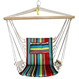 BACKYARD EXPRESSIONS PATIO · HOME · GARDEN Hammock Chair Hanging Rope Swing, Max 275 Lbs, Cushions Included, Quality Comfortable and Breathable Fabric - Indoor/Outdoor - Tropical Stripes