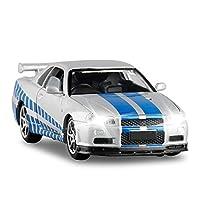 1/32に適用するスカイラインアロイダイキャストモデルおもちゃの車シミュレーションサウンドライトプルバックおもちゃの車 (Color : Gray)