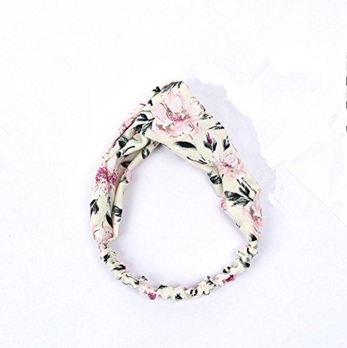 weimay Femmes Bandoulière Style Floral anudado élastique Head Wrap Stretchy Hair Band accessoires (Blanc)