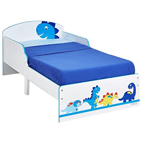 Hello Home Cama Infantil con diseño de Dinosaurio, Madera, Blanco, 142.00x77.00x59.00 cm