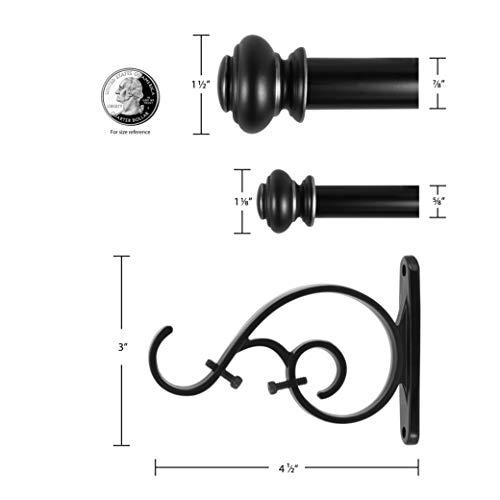 "Decopolitan Urn Telescoping Double Drapery Rod Set, 72-144"", Antique Silver"