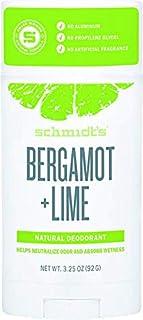 Schmidt's Natural Deodorant - Bergamot + Lime Scent, 3.25 Oz Stick; Aluminum-Free Odor Protection & Wetness Relief