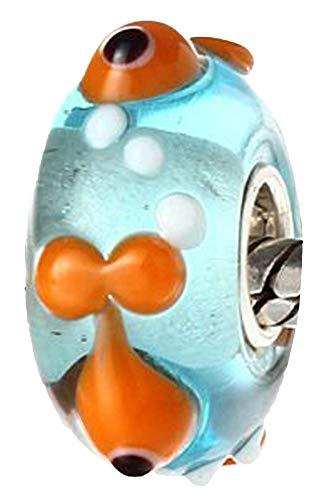 Andante-Stones 925 sterling zilver Murano glas bedel dierwereld Nemo viselement bal voor bedelarmbanden + organza zakje