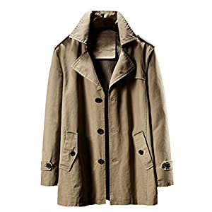Men's Loose Fit Trench Coat  Notched Collar Single Breasted