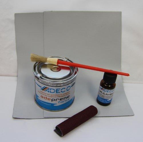 YACHTICON Schlauchboot Reparaturset grau Profi Neopren für Gummiboot 2-Komponenten Reparatur Set für Neopren hypalon Synotex mit: Flicken, Kleber, Härter, Rauhpapier, Pinsel Schutz Handschuh - grau