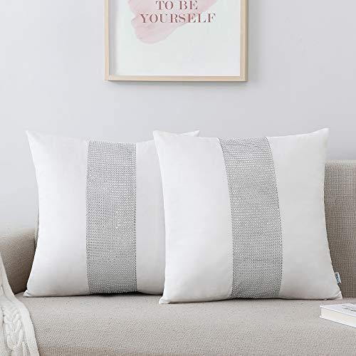 NordECO HOME Juego de 2 Fundas de cojín Decorativas - Fundas de Almohada de Terciopelo Suave para decoración del hogar de la Cama, 45 x 45 cm, Color Blanco