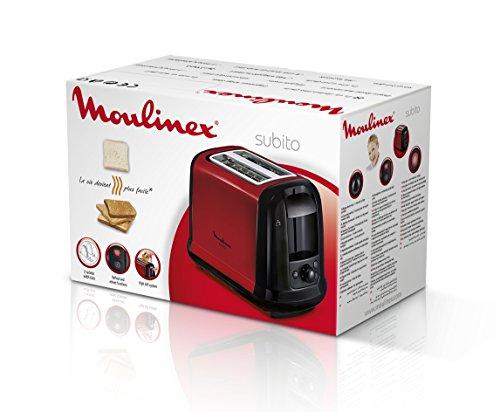 Moulinex-LT260D11-Subito-Toaster-Aufwrm-und-Auftaufunktion-Krmelschublade-SchwarzEdelstahl-Rot